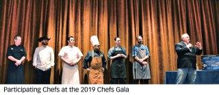 Participating chefs at the 2019 Chef's Gala left to right: Jeff Coonce, RRAZ; Aubrey Daniels – RRTX; Jose Sales, SBR; Aris Cabrera – QC; Mary Aherns and Robert Nixon – PebbleCreek.