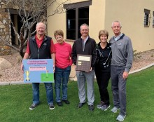 Rick Snowden and Mary Snowden, (Gross Champions) and Diane Taylor and Eric Taylor, (Net Champions) with Mike Jahaske (Director of Golf, SBR)