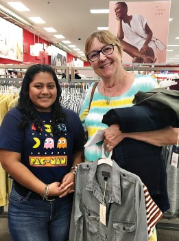 """Roselina Cota and her Teen Closet """"personal shopper,"""" Mary Ewald, shop at Target."""