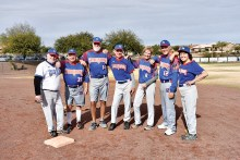 Ranch senior softball players (from left): Charlie Scott, Jef Farland, Terry Hurley, David St. Jules, Mary Schneck, Charles Hendryx, Barb St. Jules; Not pictured: Steve Schneck, John Shaughnessy, Terry Mihora, Janice Mihora, Jeff Stolze, Hugh Parker, and Rick Hanson; photo by Dennis Purcell