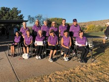 Here is this year's Robson Challenge team representing SaddleBrooke Ranch. Back row: Marlyce Mycka, Mary Anderson, Cheryl Reddy, Carole Ericksen, Trish Kelly, and Cheri Alfrey; front row: Mary Hoover, Mary Snowden, Barb Simms, Lorraine Smith, Carol Mihal, and Jeanne Osterlund.