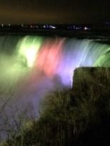Beautiful lights reflected on Niagara Falls