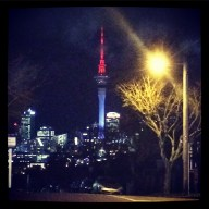 Night vision of Auckland's SKytower