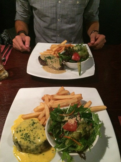 Fillet Bearnaise, with chips & salad. Pepper Steak with chips & salad