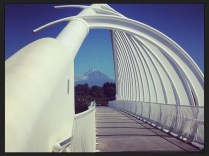 Te Rewa Rewa Bridge with Mt.Taranaki in the foreground
