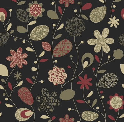 Cute Twitter background red green floral print