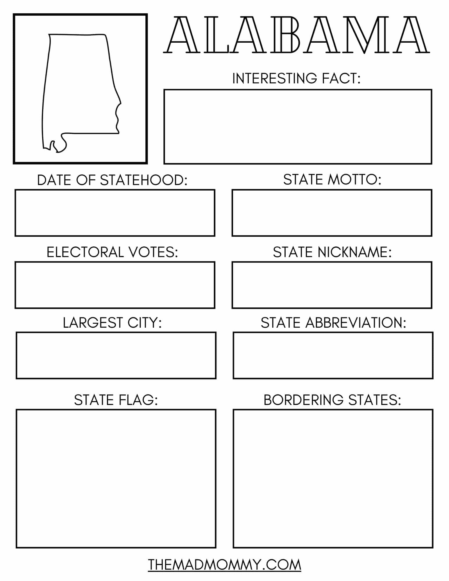 15 Facts About Alabama Free Printable State Workbook