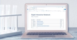 Computer with table of contents of digital notebook