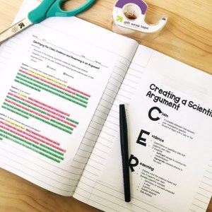Notebook. On the left is text highlighted in three separate colors for the claim evidence reasoning. On the right side page, there is an explanation of the what the claim, evidence and reasoning is.