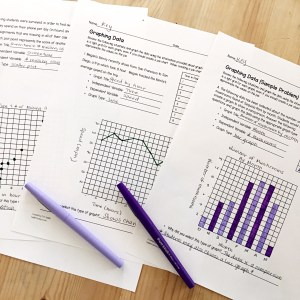 Worksheet with 3 types of graphs