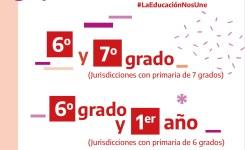 Educación primaria: 6to y 7mo grado ó 6to y 1er año