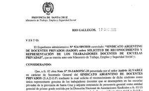 Lee más sobre el artículo Santa Cruz reconoció a SADOP cómo único representante de los docentes privados