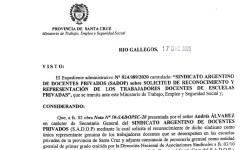 Santa Cruz reconoció a SADOP cómo único representante de los docentes privados