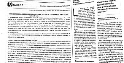 En este momento estás viendo Convocatoria a elecciones de la Seccional San Luis de SADOP