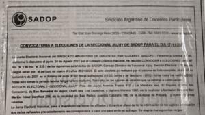 Lee más sobre el artículo Convocatoria a elecciones de la Seccional Jujuy de SADOP