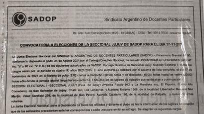 En este momento estás viendo Convocatoria a elecciones de la Seccional Jujuy de SADOP