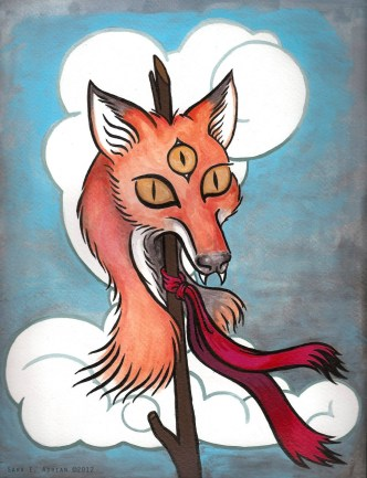 "'Totem' Acrylic on Paper 11"" x 14"""