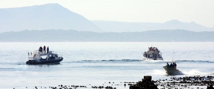 Walbeobachtung in Kleinbaai (Gansbaai) vom Boot aus. Gansbaai liegt ebenfalls an der Cape Whale Coast Route