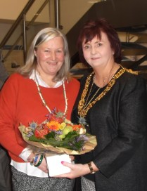 Claire Foottit presents Lord Provost with flowers