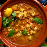 Fish tagine with preserved lemon and mint