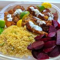Roasted Chicken and Roasted Beets with Couscous and yogurt sauce