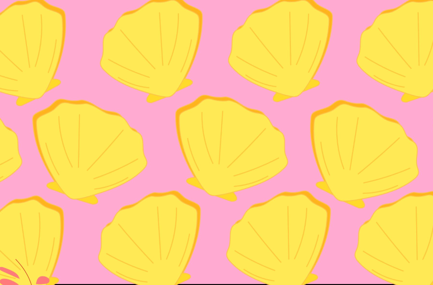 yellow graphic clam shells over solid pink background
