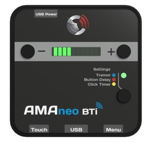 AMAnew BTi With AMAneo BTi, assistive, ergonomic and standard mice can be connected to the mobile Apple devices. Simply via Bluetooth, no complicated settings are necessary