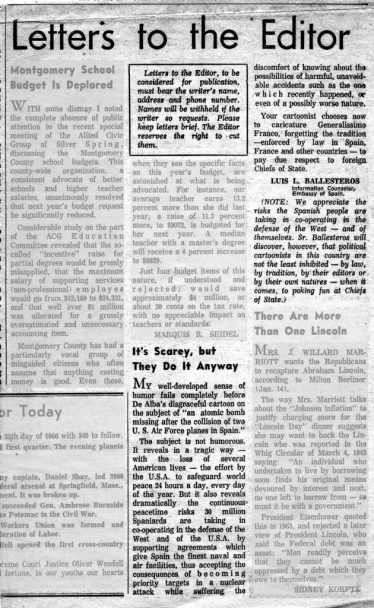 A newspaper page showing letters to the editor