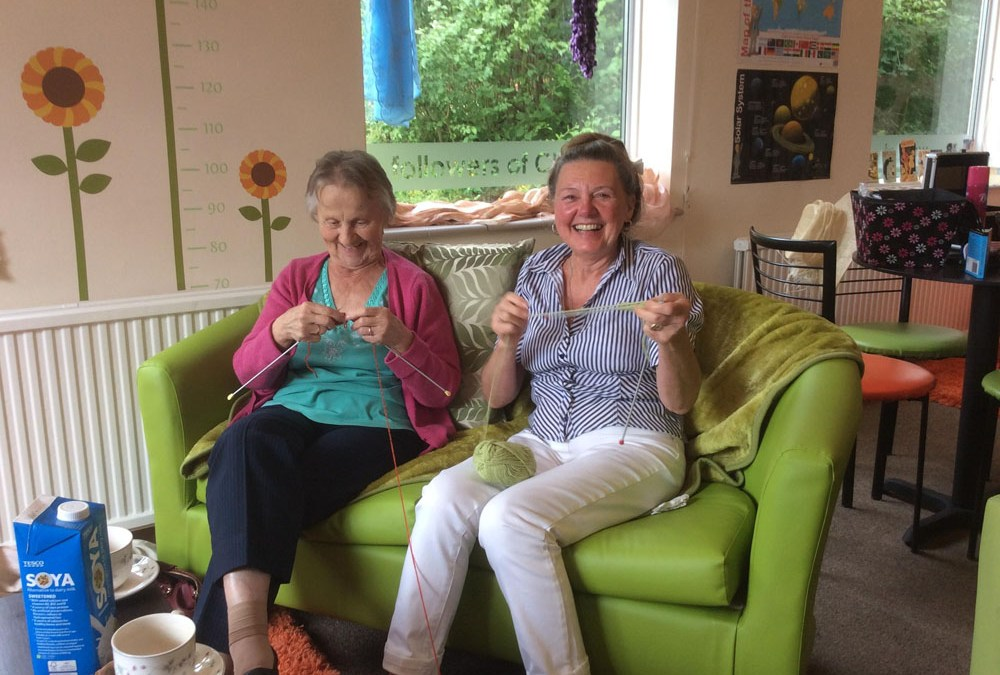 Knitting keeps the mind active at Safe Haven