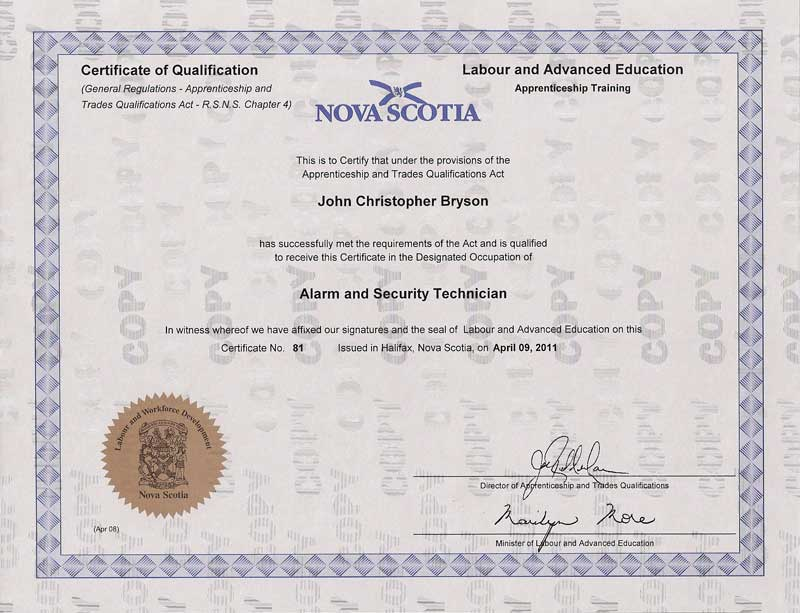 Protect America Alarm System Security Certificate