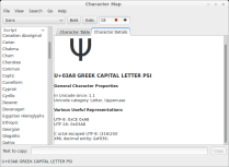 Further details about the currently selected character, which here is the (uppercase) Greek letter Psi.
