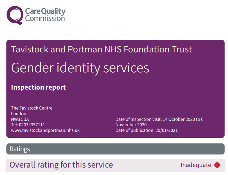 Care Quality Commission screengrab showing Tavistock Gender Identity Services is rated Inadequate