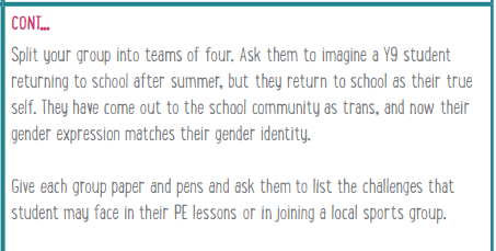 Split your group into teams of four. Ask them to imagine a Y9 student returning to school after summer, but they return to school as their true self. They have come out to the school community as trans, and now their gender expression matches their gender identity. Give each group paper and pens and ask them to list the challenges that student may face in their PE lessons or in joining a local sports group