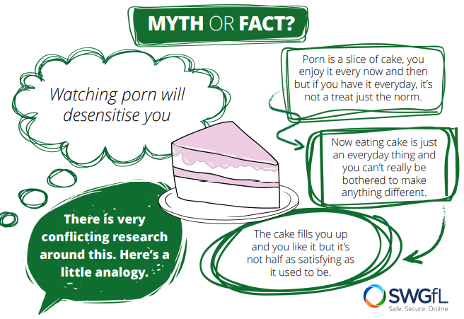 Myth or Fact?  Watching porn will desensitise you.  There is very conflicting research around this. Here's a little analogy. Porn is a slice of cake, you enjoy it every now and then but if you have it every day, it's not a treat just the norm.  Now eating cake is just an everyday thing and you really can't be bothered to make anything different. The cake fills you up and you like it but it's not half as satisfying as it used to be.