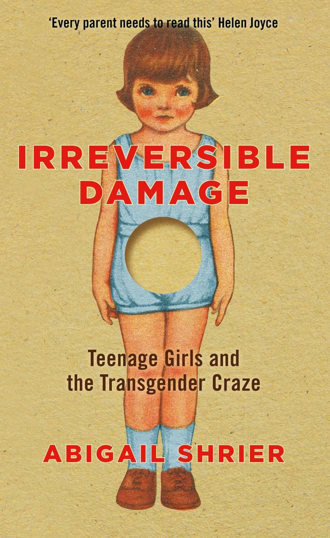 Irreversible Damage book cover showing a girl with a blank circle cut out of her midriff