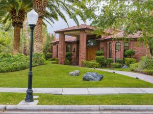 home front yard with landscape shading