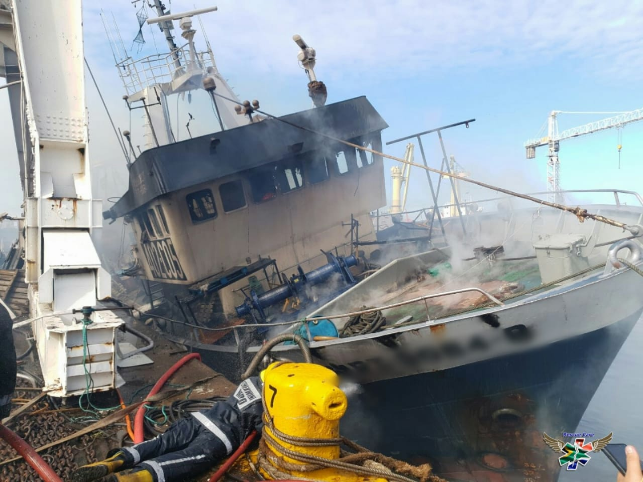 Six missing after ship burns in Durban harbour