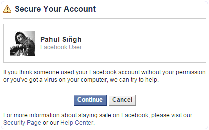 Facebook account recovery to name change