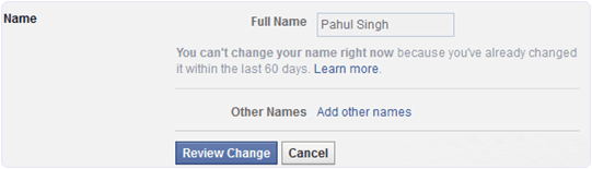 facebook change name before 60 days limit