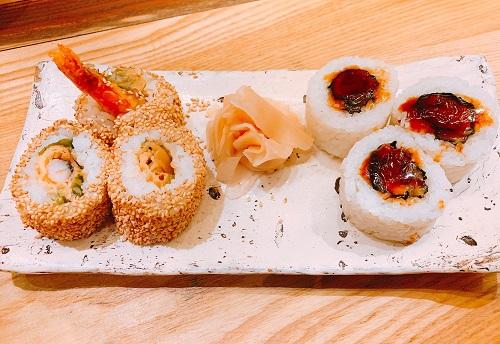 海老天ロール寿司と牛かつロール寿司