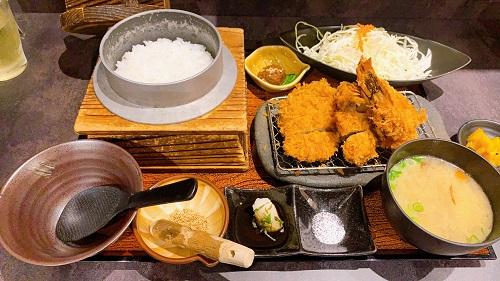 鹿児島 黒かつ亭 博多アミュプラザ店のひれかつ海老定食