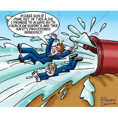 health and safety cartoon of two guys being squirted out of a big pipe