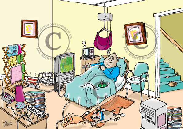 safety cartoons on home care, guy in bed smoking, overloaded electrical socket, clothes drying near electric heater possible fire hazard, dog chasing cat, ripped carpet trip hazard
