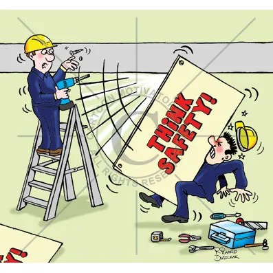 health and safety cartoons of a guy who is fixing up a sign 'THINK SAFETY!' has not screwed it in properly and it's slipped and hit his workmate.
