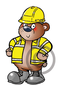 health and safety cartoon mascot, cartoon character of a bear in hi vis vest and safety boots and hard hat