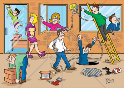 office health and safety hazard spotting cartoon, woman in extra high heels, falling down uncovered manhole, over reaching on ladder