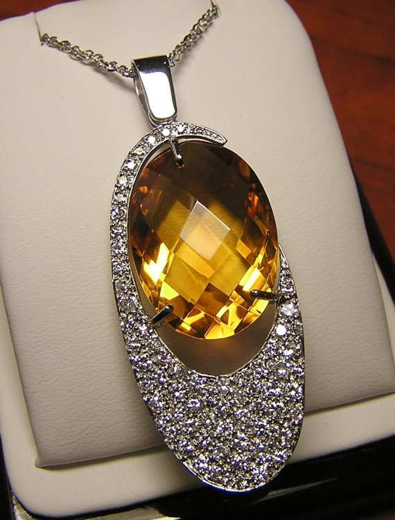 Pave Diamond Citrine Pendant