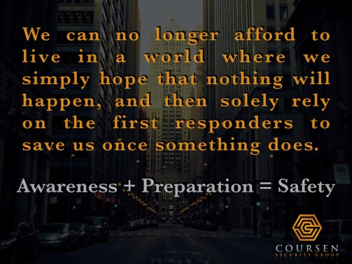 Security Expert Spencer Coursen outlines safety and protective strategy awareness plus preparation equals safety