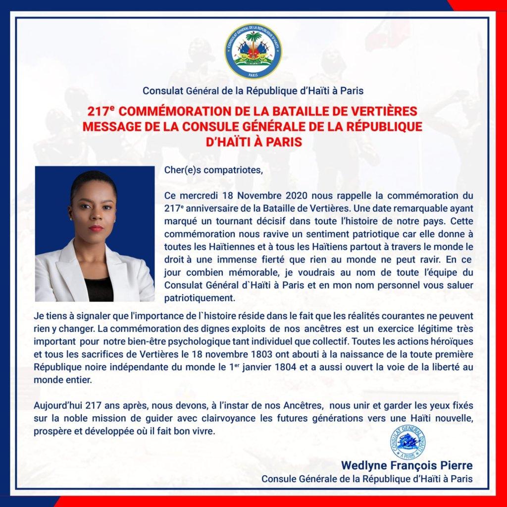 Message de la Consule Générale de la République d'Haïti à Paris à l'occasion de la commémoration du 217e anniversaire de la bataille de verrières.