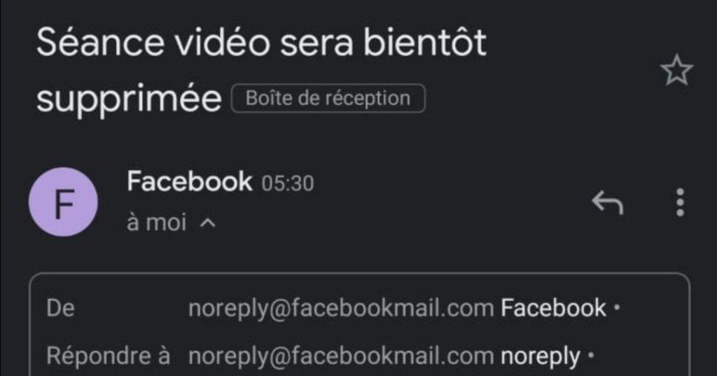 Facebook : Séance vidéo est supprimée le 16 avril